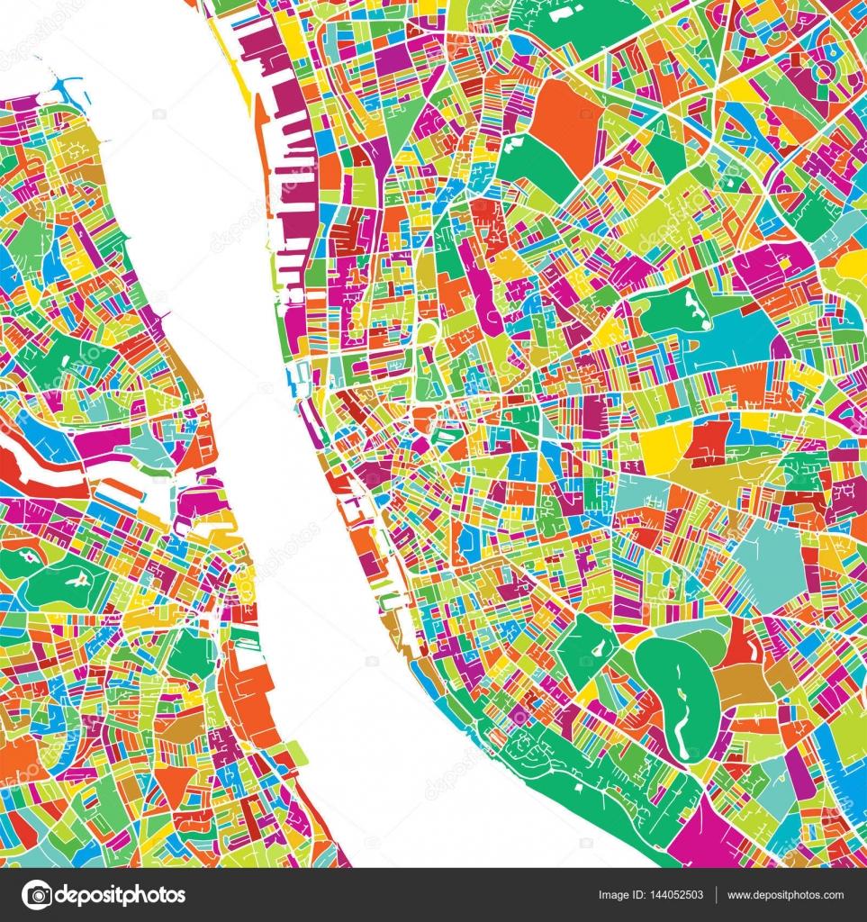 Mapa del Vector colorido Liverpool — Vector de stock © mail ...