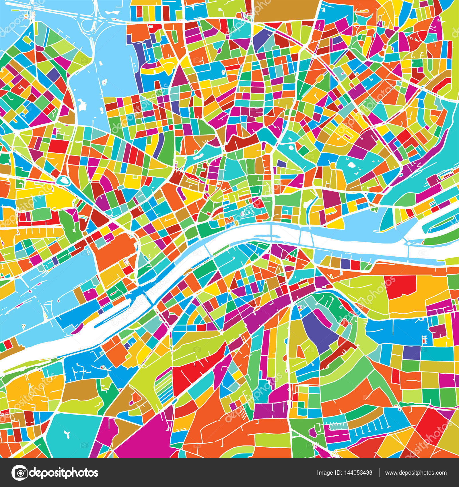 Frankfurt Germany Colorful Vector Map Stock Vector C Mail