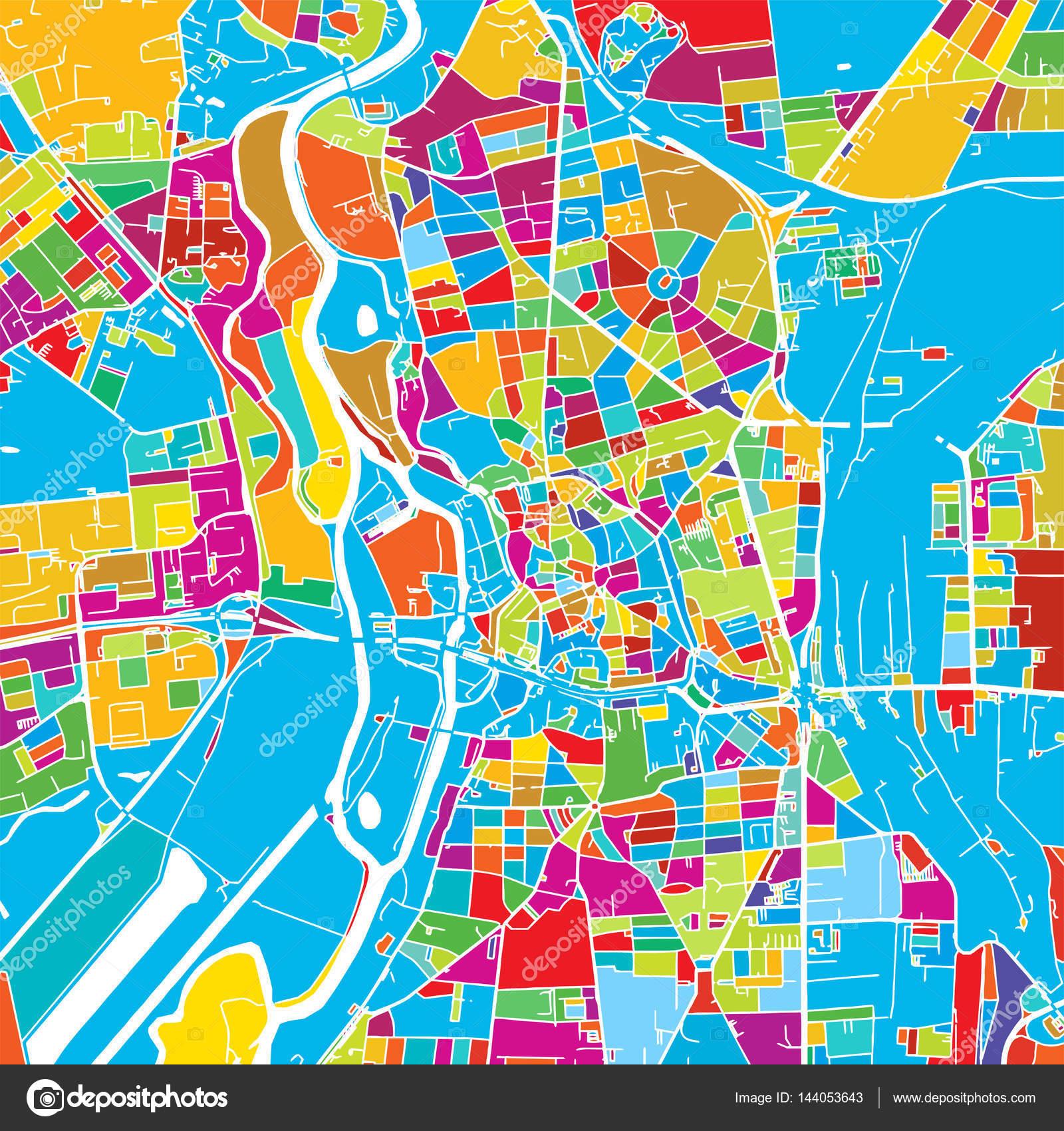 Halle Saale, Alemania, Vector colorido mapa — Vector de stock © mail ...