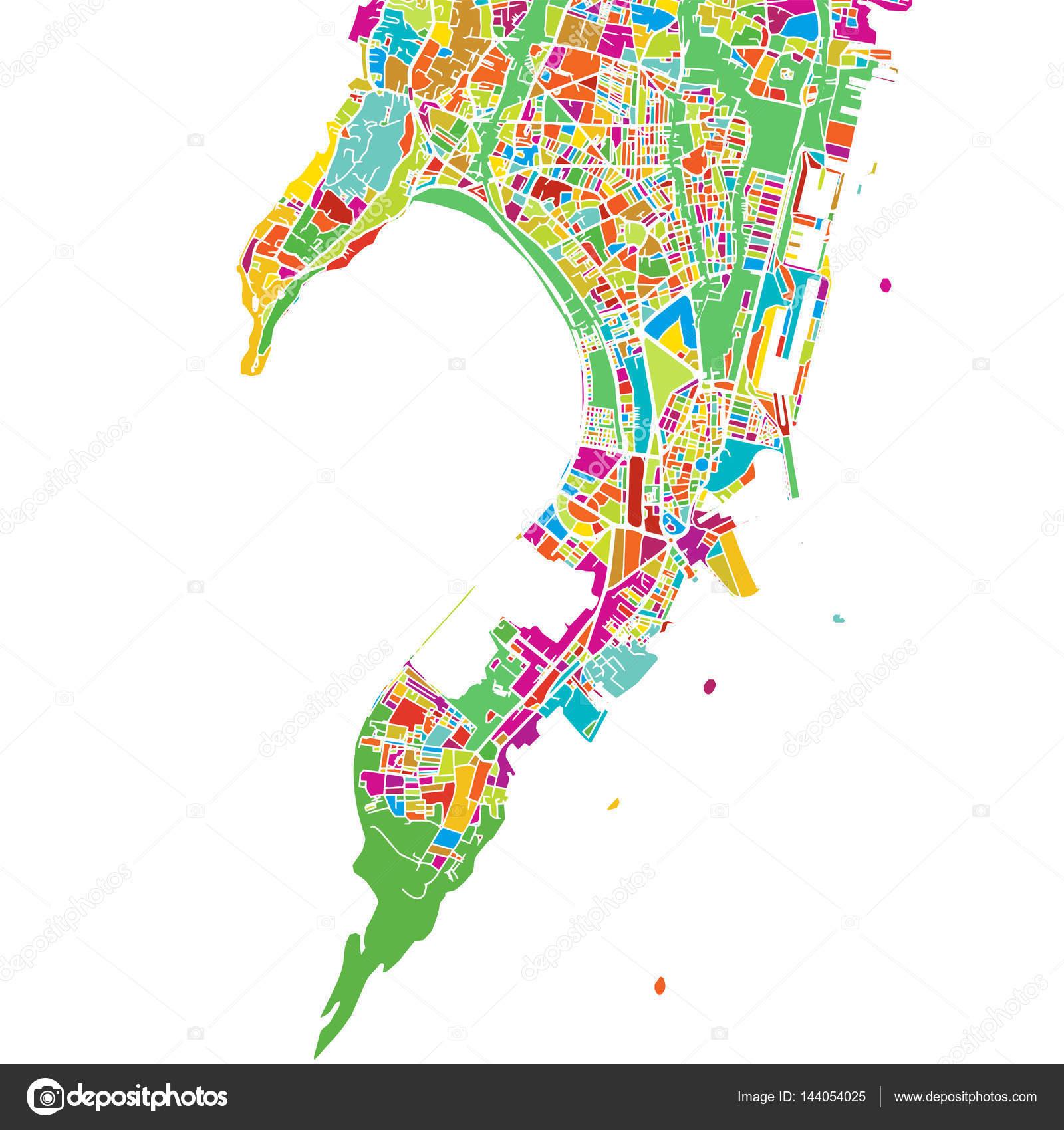 Mumbai india vector colorido mapa vector de stock mail cambiar esquema imprimible de mumbai la india mapa de vector colorido versin lista para el color separados en blanco vector de mailhebstreit gumiabroncs Image collections