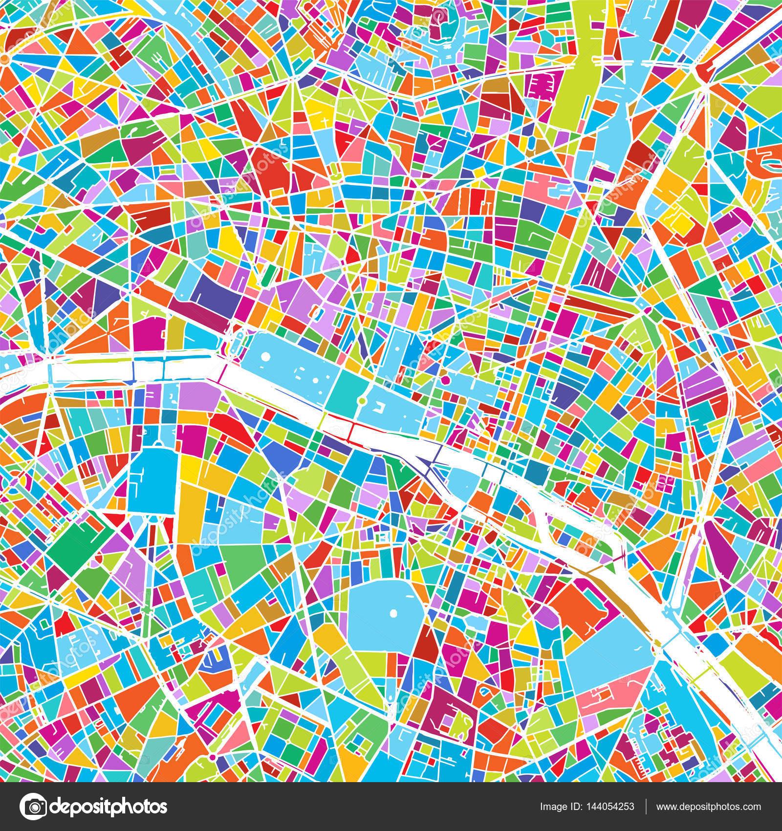 パリフランスカラフルなベクトル地図 ストックベクター Mail