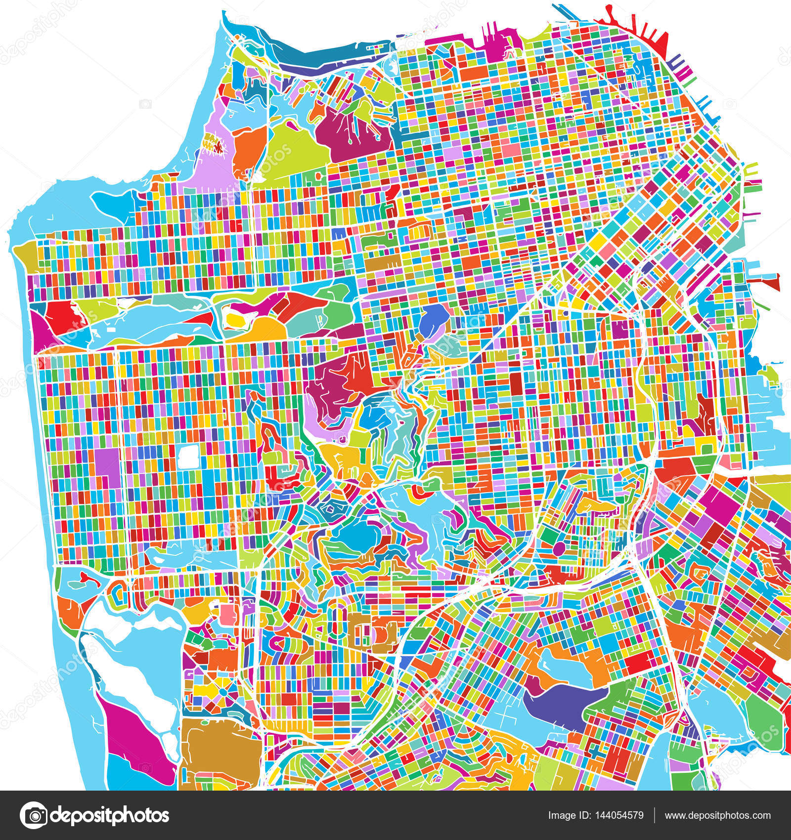 San Francisco, USA, Colorful Vector Map — Stock Vector © mail ...