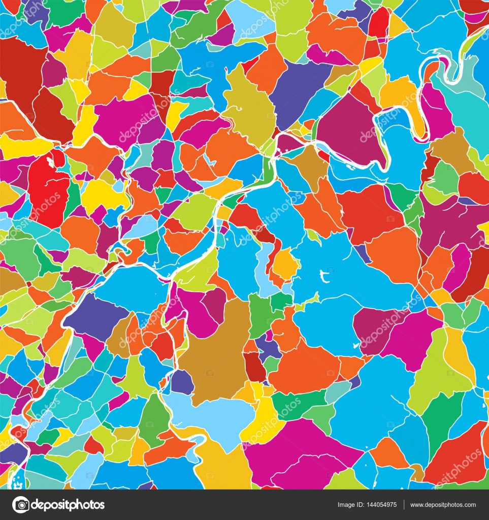 Trier Duitsland Landmark Kleurrijke Vector Kaart Stockvector