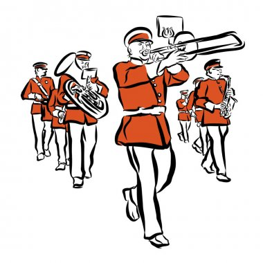 Red Colored Marching Band Illustration