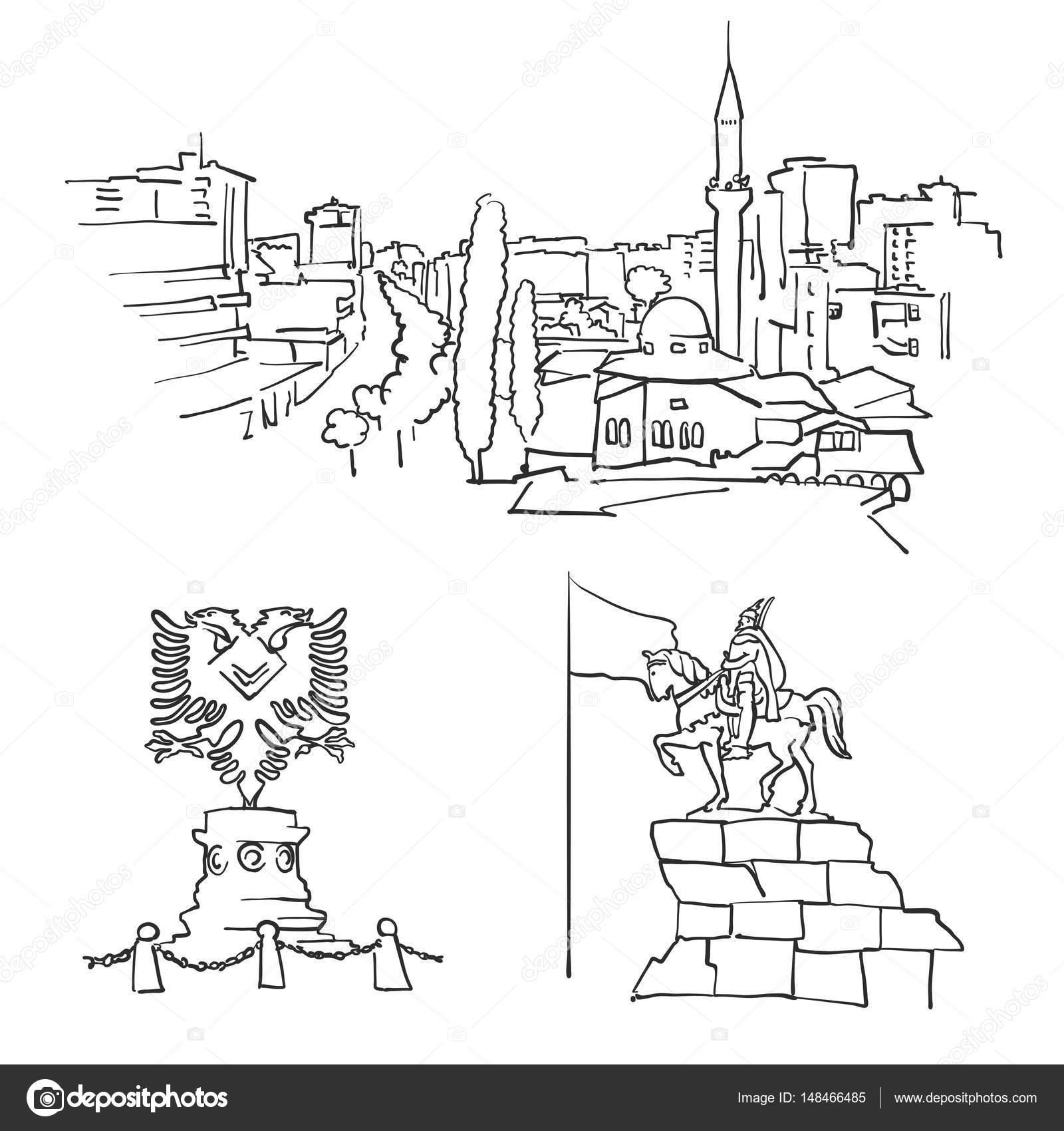 Edificios famosos de Albania Tirana — Archivo Imágenes Vectoriales ...