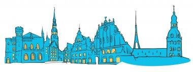 Riga Latvia Colored Panorama