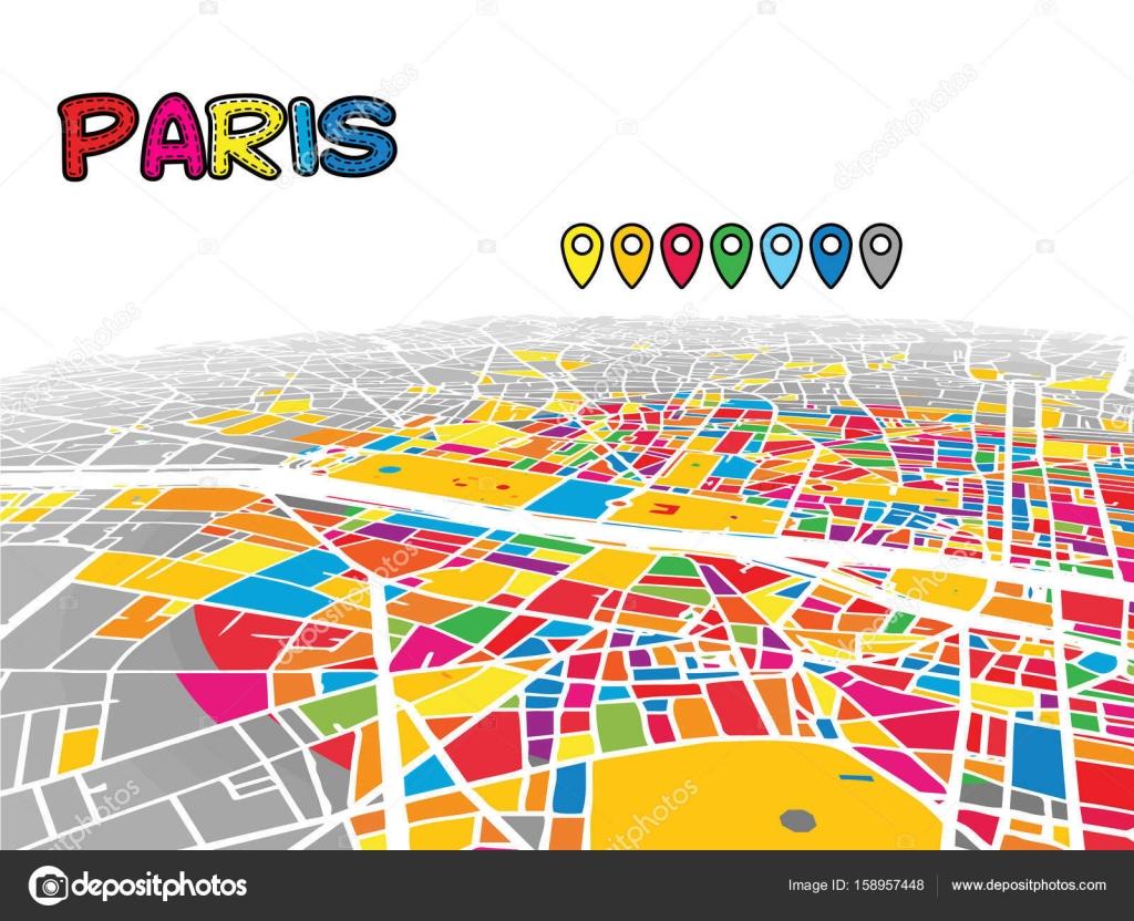 Mapa De Paris Centro.Mapa De Ilustracion De Paris Centro De Paris Francia