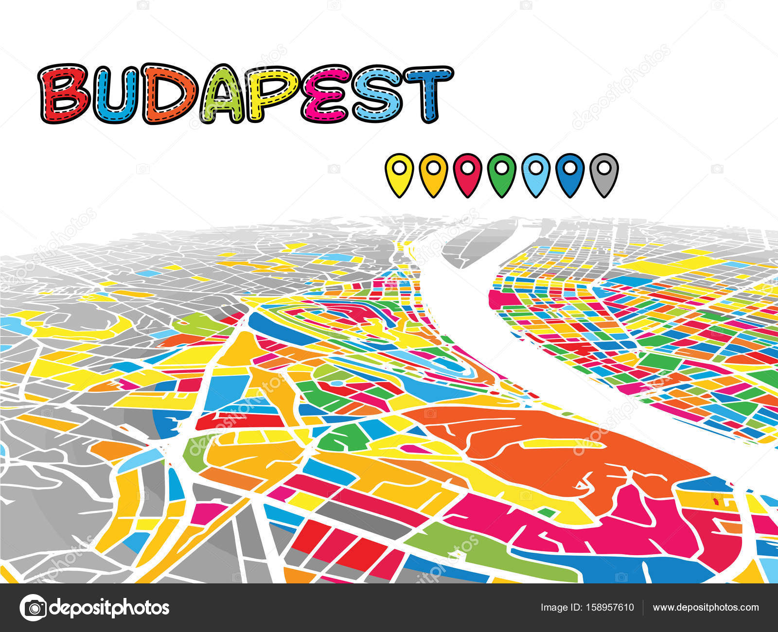 Budapest Hungary Downtown 3d Vector Map Stock Vector C Mail