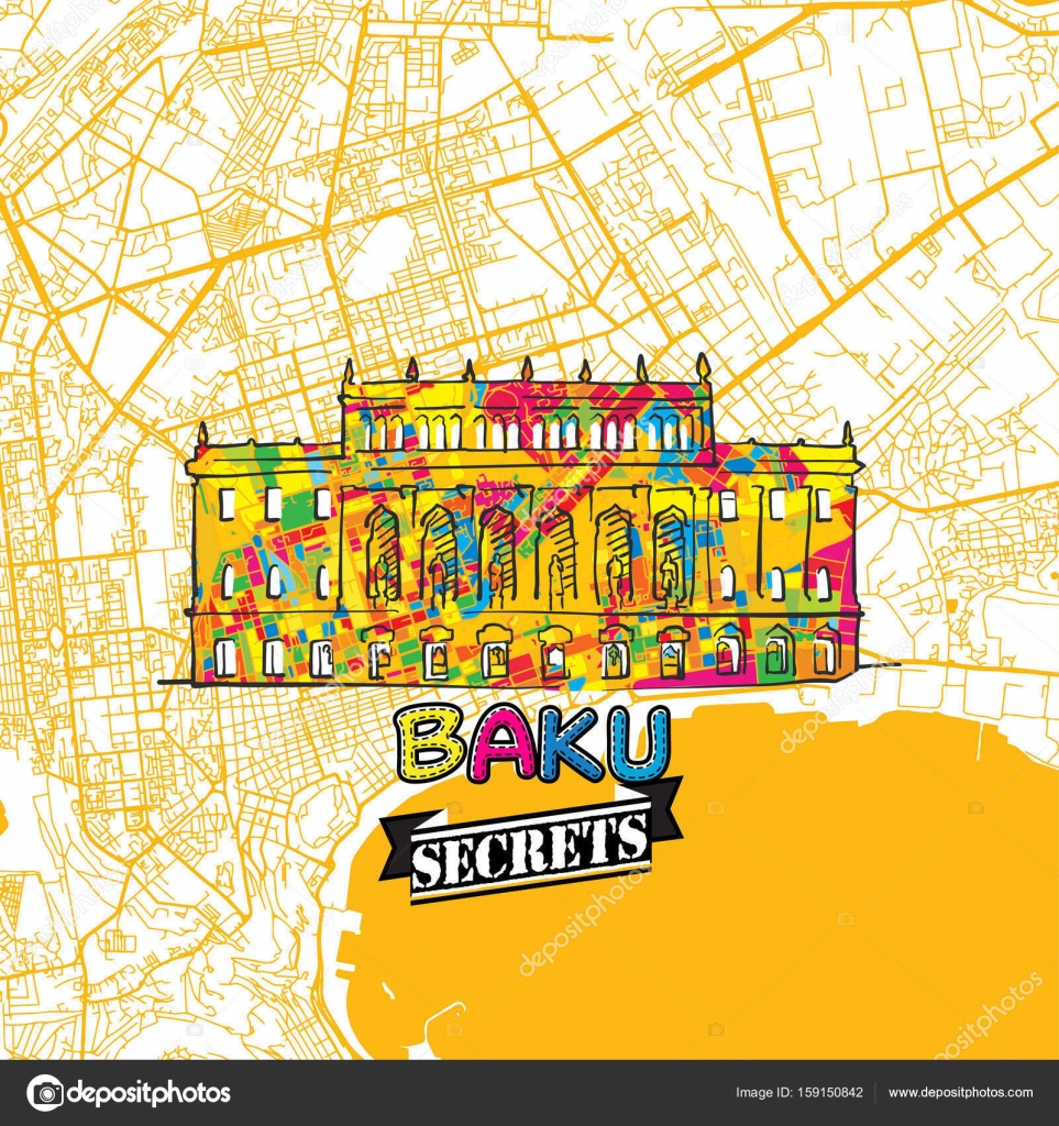 Baku Travel Secrets Art Map Stock Vector mailhebstreitcom