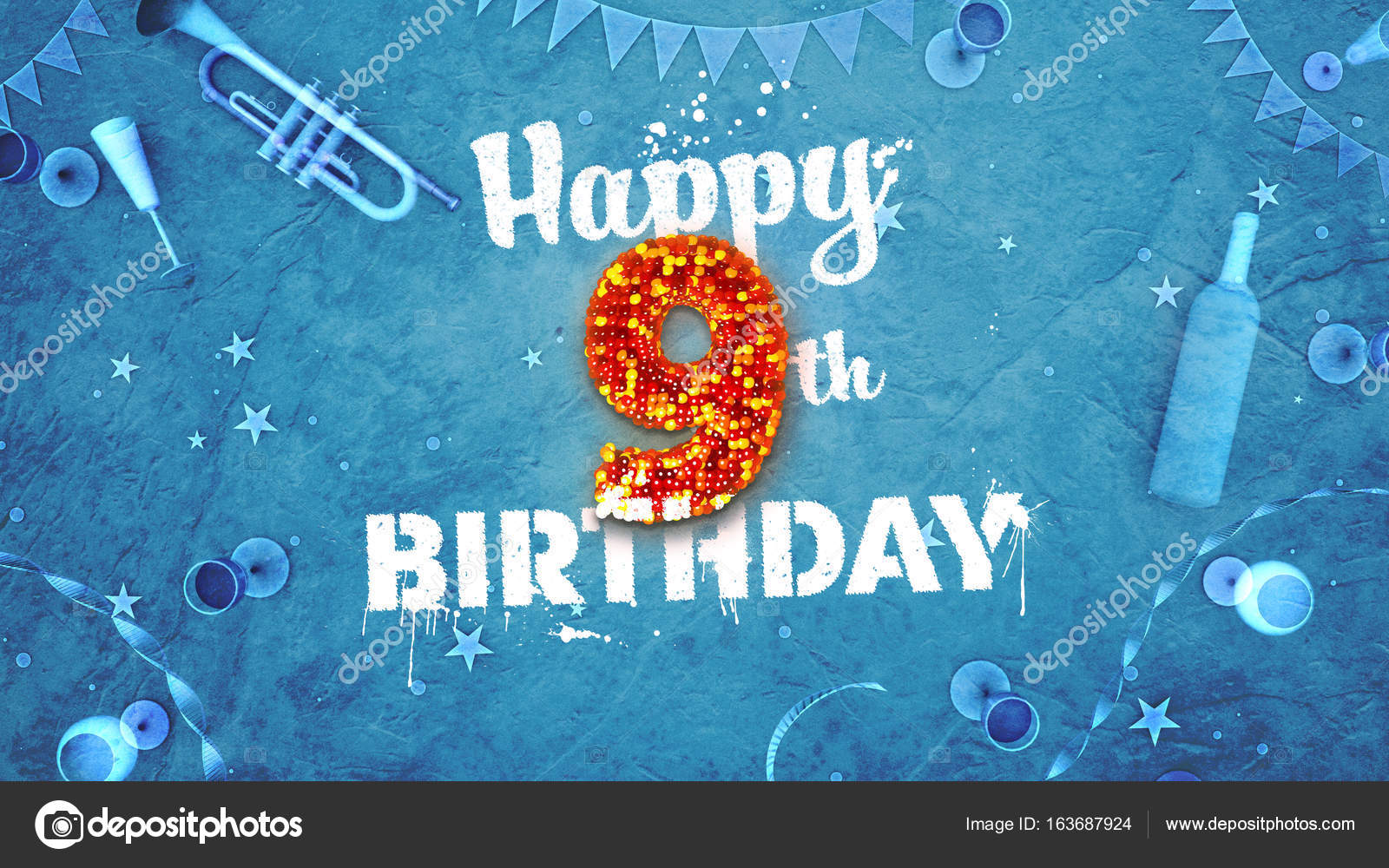 Happy 9th birthday card with beautiful details stock photo mail happy 9th birthday card with beautiful details stock photo bookmarktalkfo Images