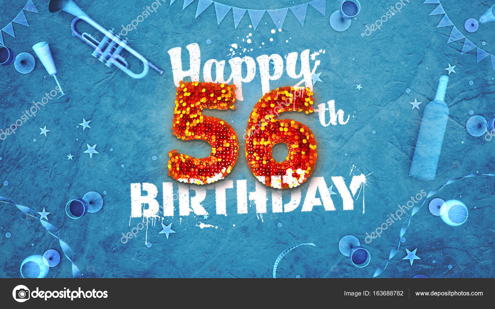 Happy 56th Birthday Card With Beautiful Details Stock Photo