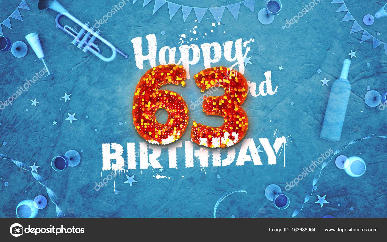 Glücklich 63. Geburtstagskarte mit schönen details — Stockfoto