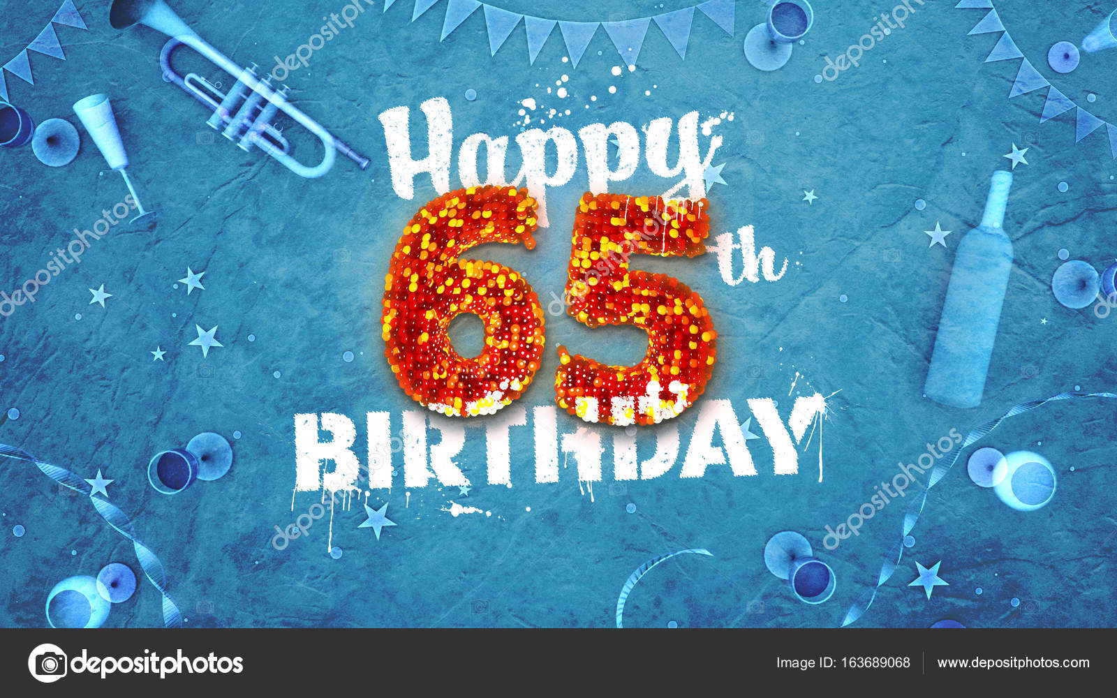 Happy 65th Birthday Card With Beautiful Details Stock Photo