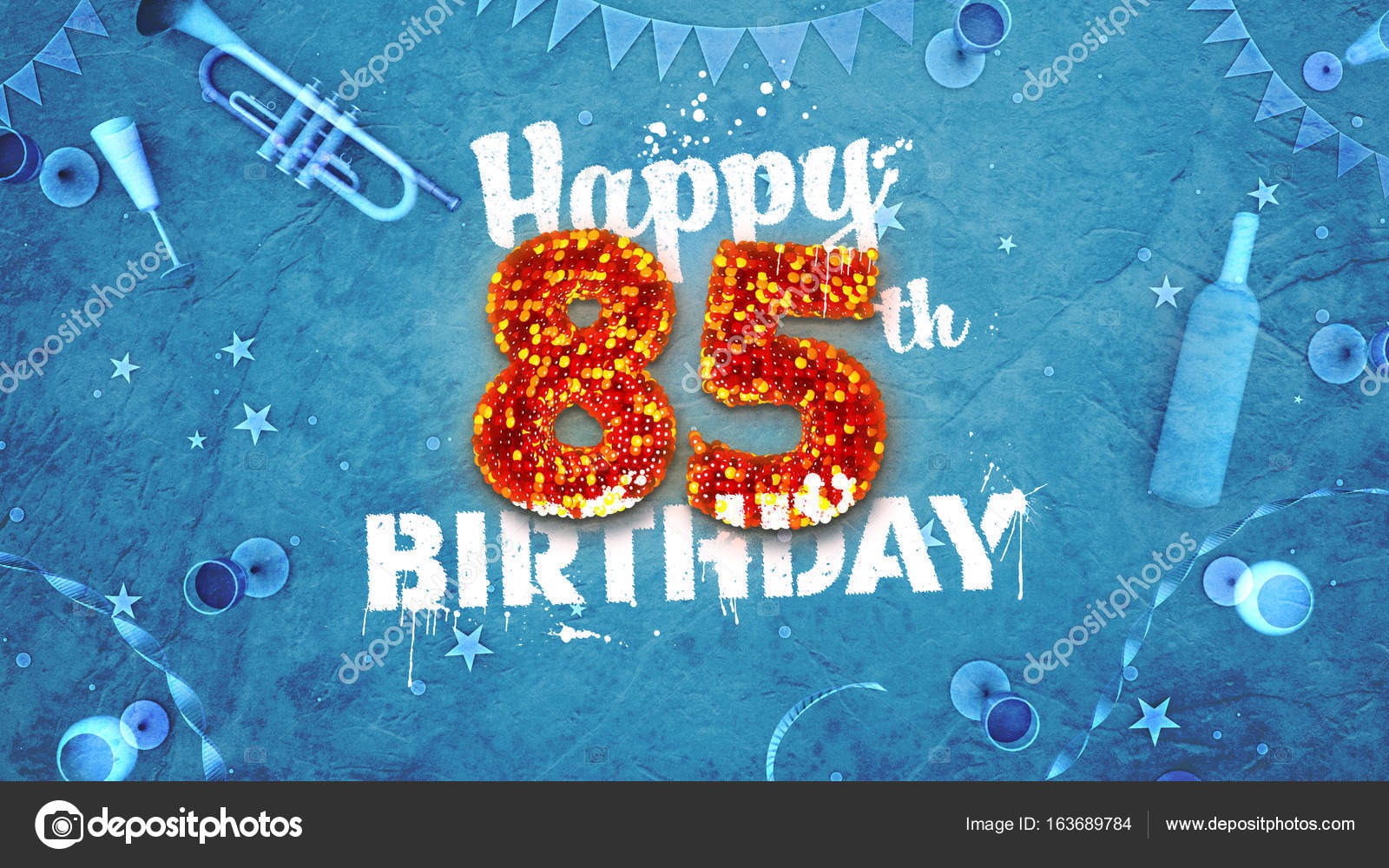 Happy 85th Birthday Card With Beautiful Details Stock Photo