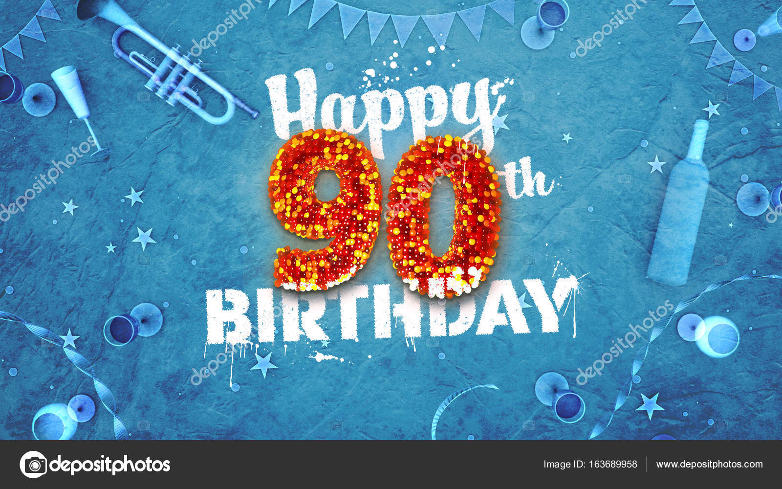 Happy 90th Birthday Card With Beautiful Details Stock Photo