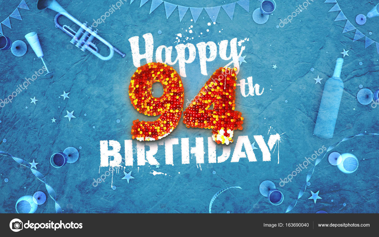 Happy 94th Birthday Card With Beautiful Details Stock Photo