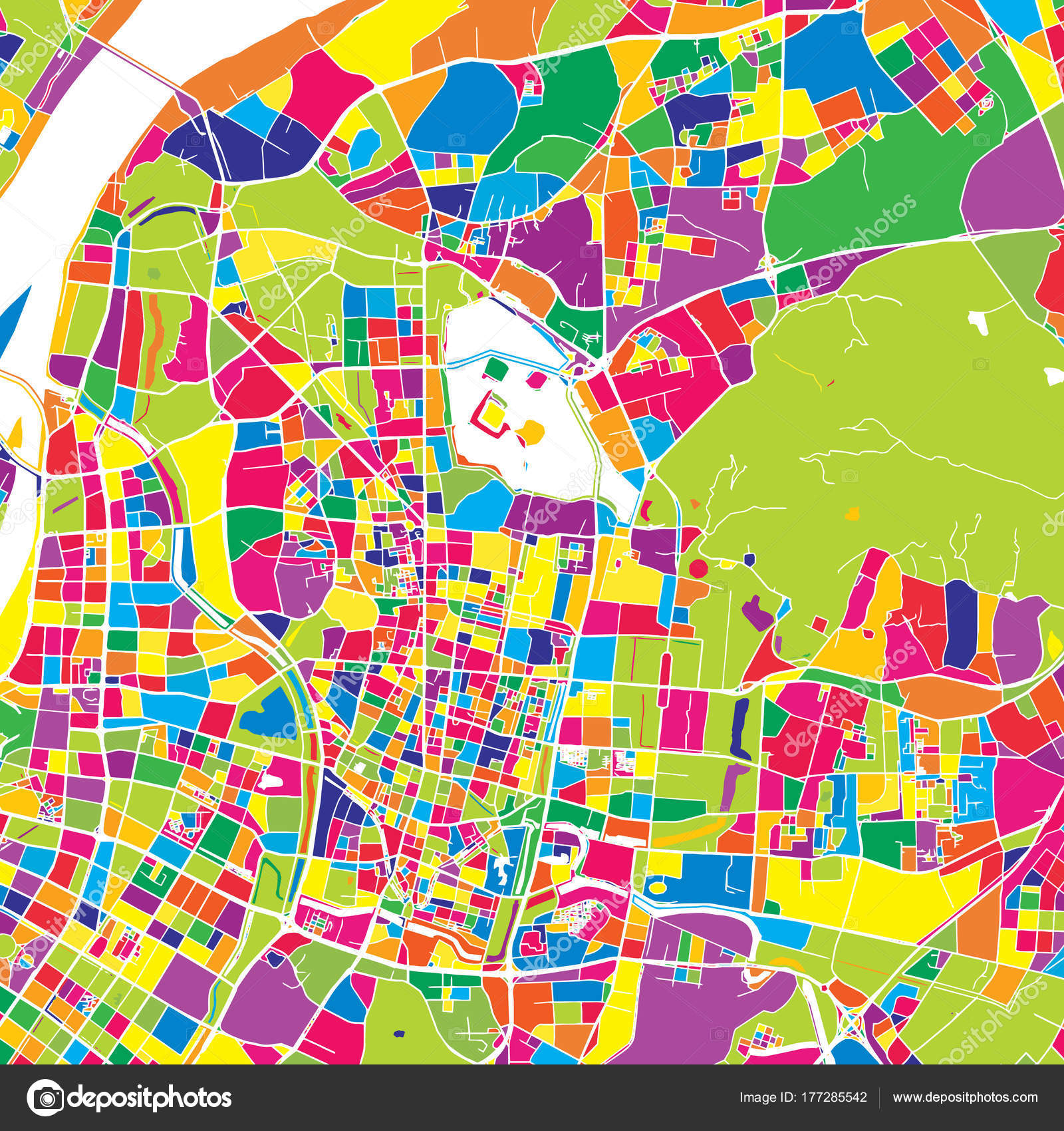 Nanjing China Colorful Vector Map Stock Vector C Mail Hebstreit