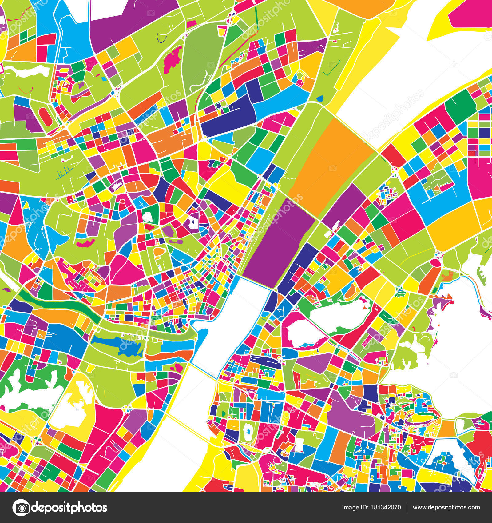 Wuhan China colorful vector map Stock Vector mailhebstreit