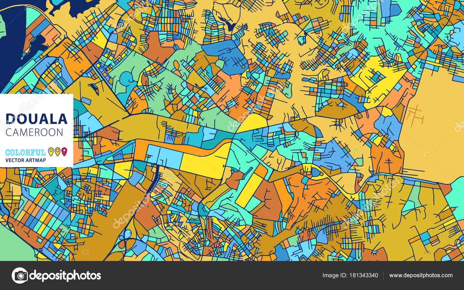 Douala Cameroon Colorful Vector Artmap Stock Vector mail
