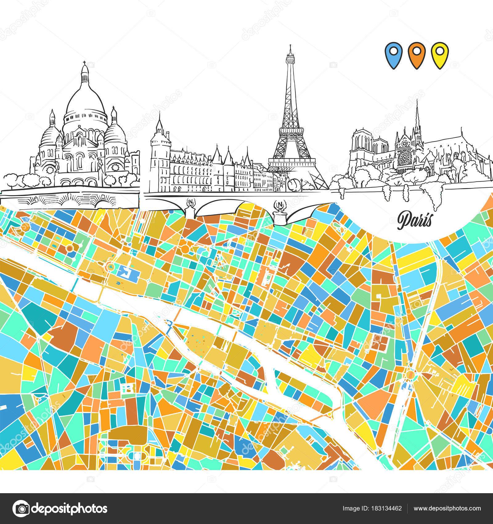 パリ旅行スケッチや地図 ストックベクター Mailhebstreitcom