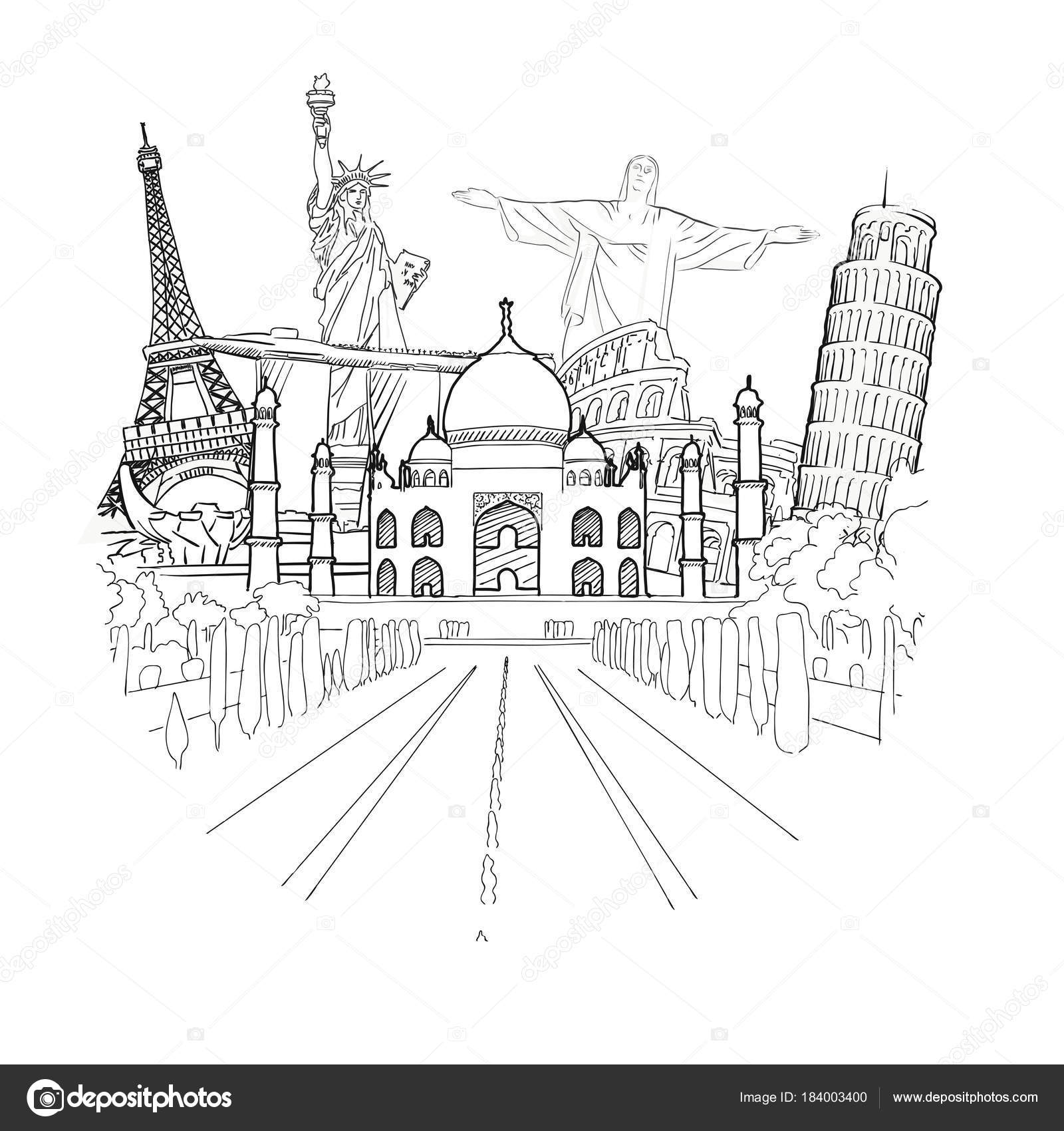 Travel To World Sketch Stock Vector