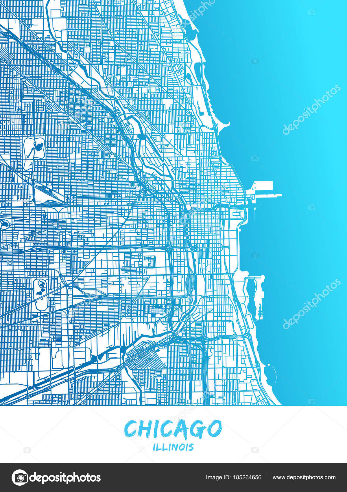 Chicago Illinois Map Poster Design Stock Vector mail