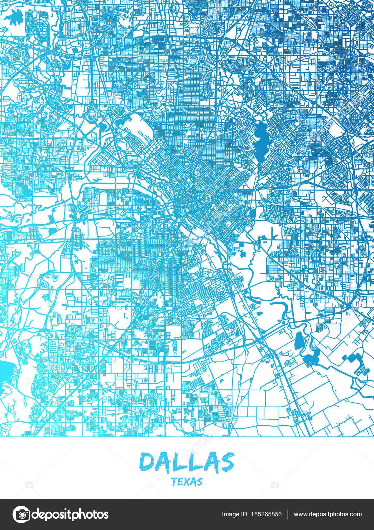 Dallas, Texas - mapa de diseño de cartel — Archivo Imágenes ...