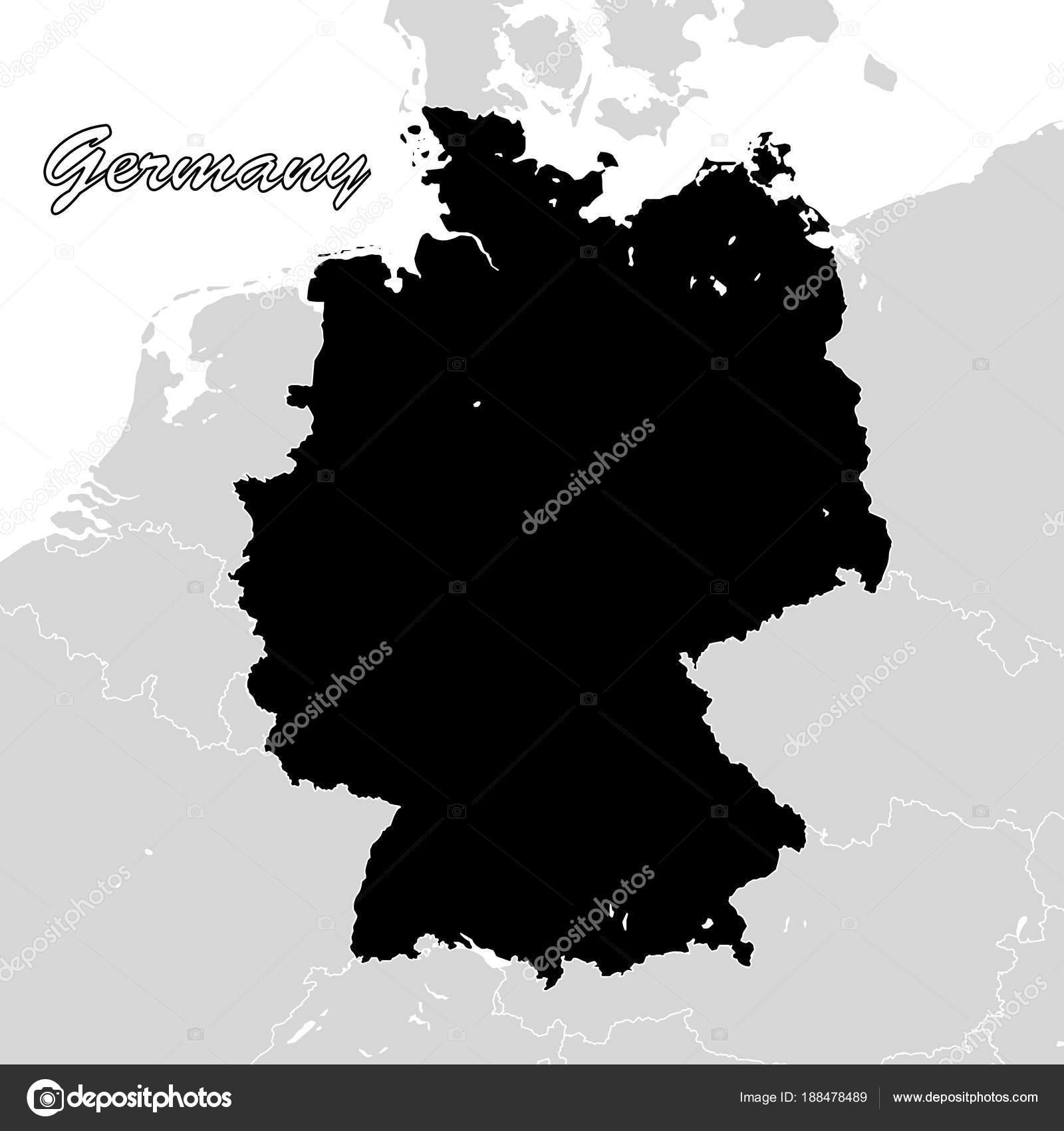 b2314ac862782d Sihouette Landkarte Deutschland. Schwarz   weiß-Vektorgrafik — Vektor von  mail.hebstreit.com