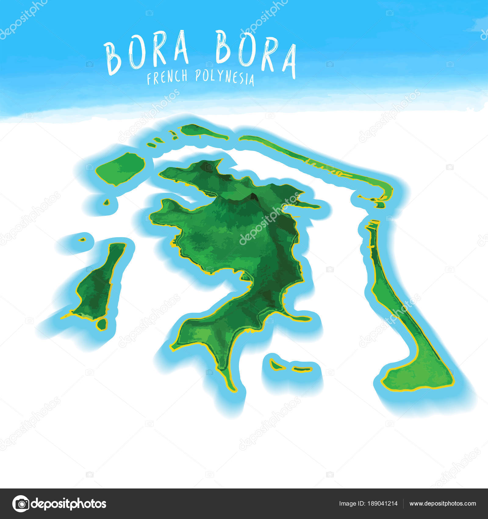 3d Island Map Of Bora Bora Stock Vector C Mail Hebstreit Com