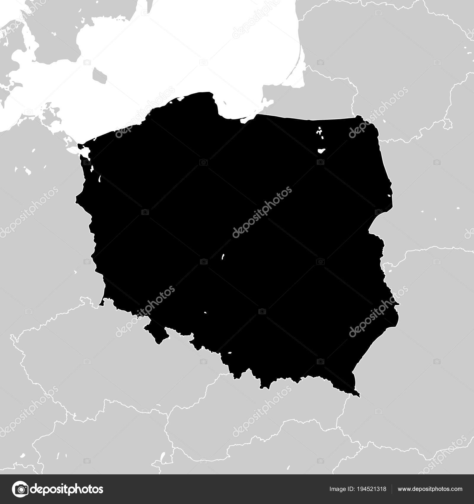 Polonia con los vecinos países de Europa — Archivo Imágenes