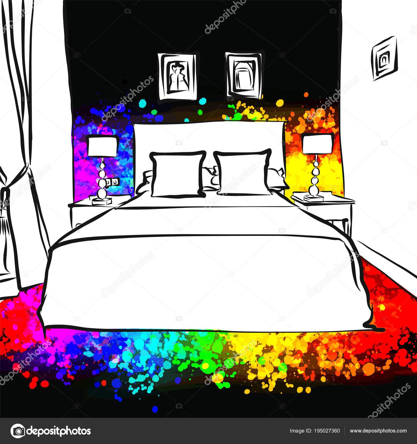 concept de dessin intérieur chambre sombre — image vectorielle mail