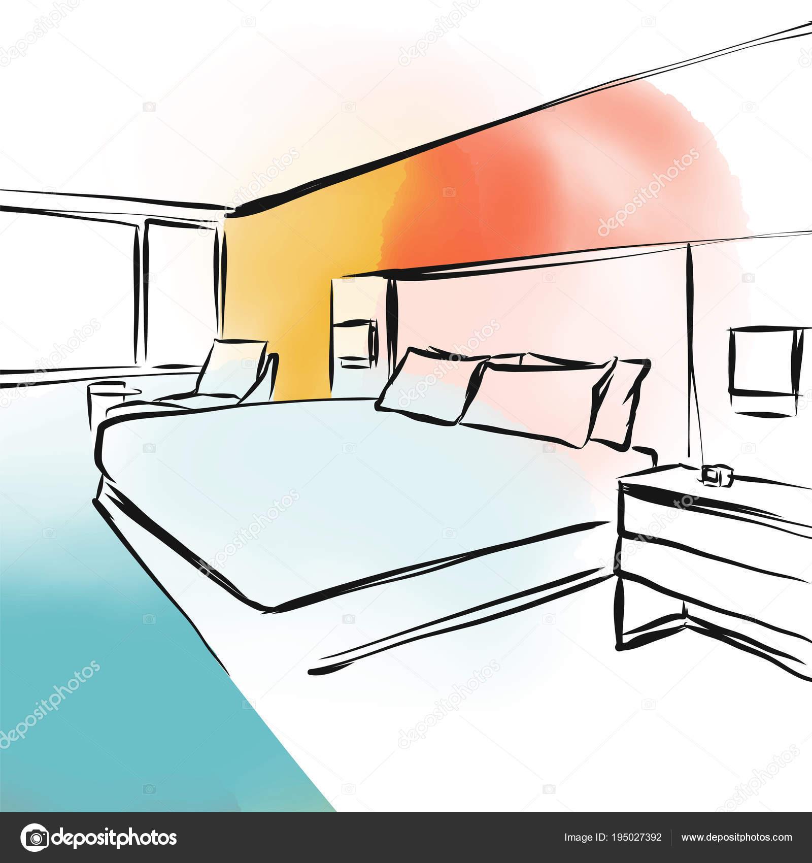 Feng Shui Schlafzimmer Konzept Design Skizze Stockvektor C Mail