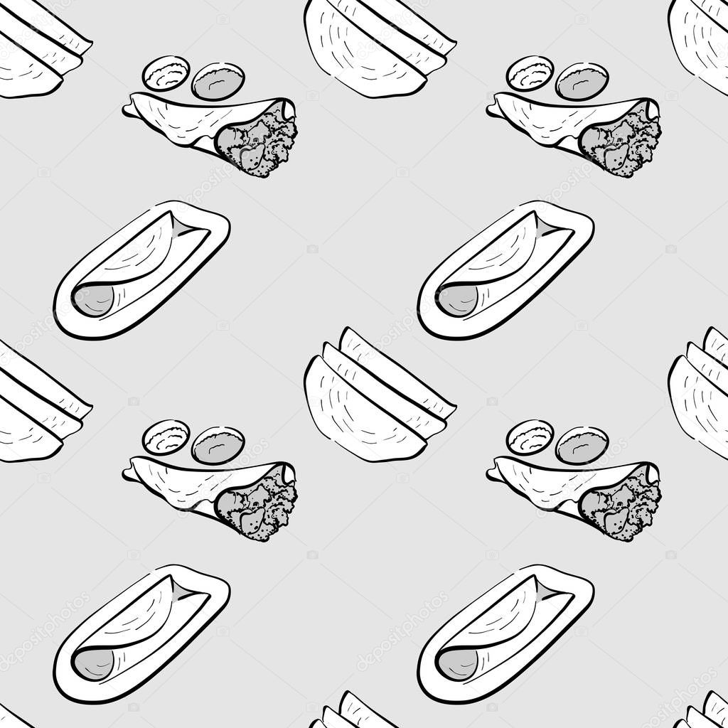 Dosa Seamless Pattern Greyscale Drawing Useable For Wallpaper Or Any Sized Decoration Handdrawn Vector Illustration Premium Vector In Adobe Illustrator Ai Ai Format Encapsulated Postscript Eps Eps Format