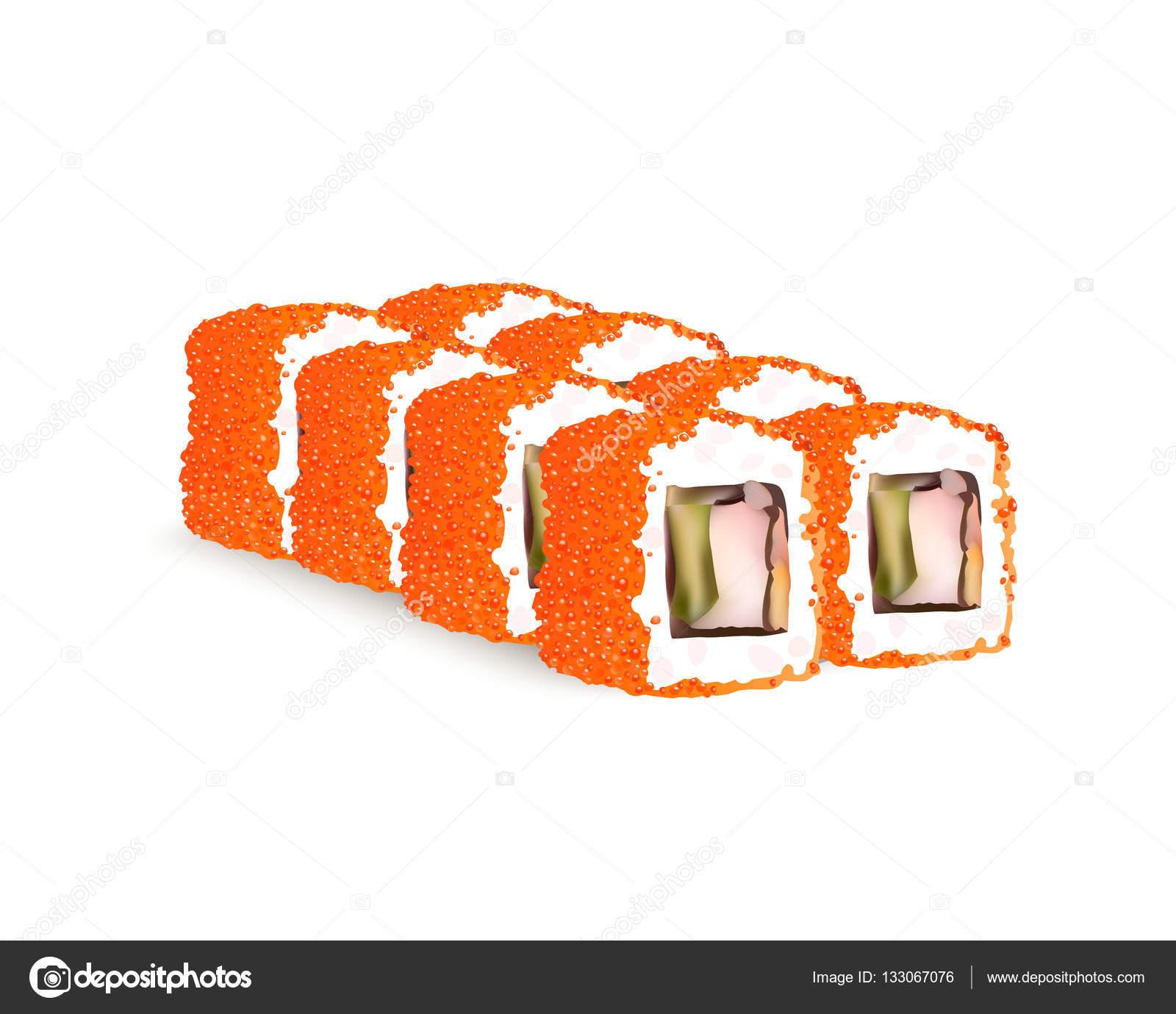 Sushi Rolls Ikon Wektorowych Japoński Menu żywności Ryżu I