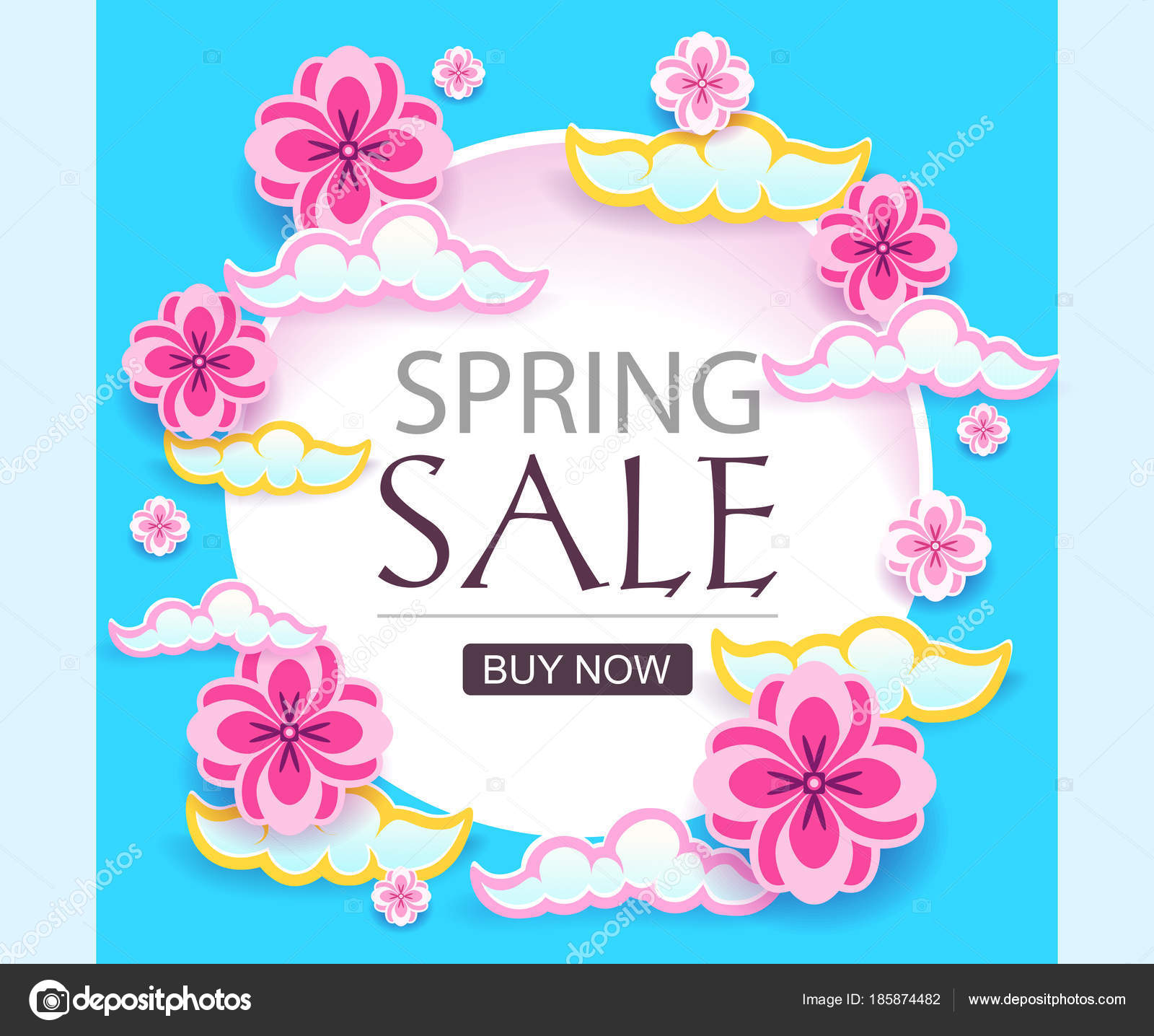 Cut Paper Spring Sale Banner Vector Modern Poster For Promotion On