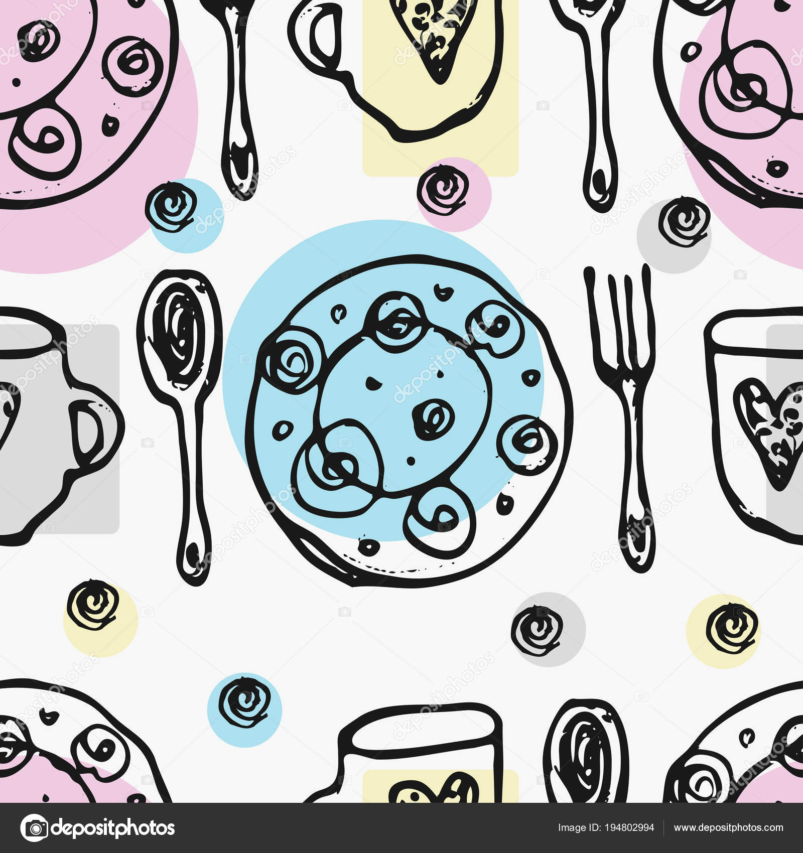 Seamless pattern with kitchen tools : plate, cup, pan. Hand drawn ...