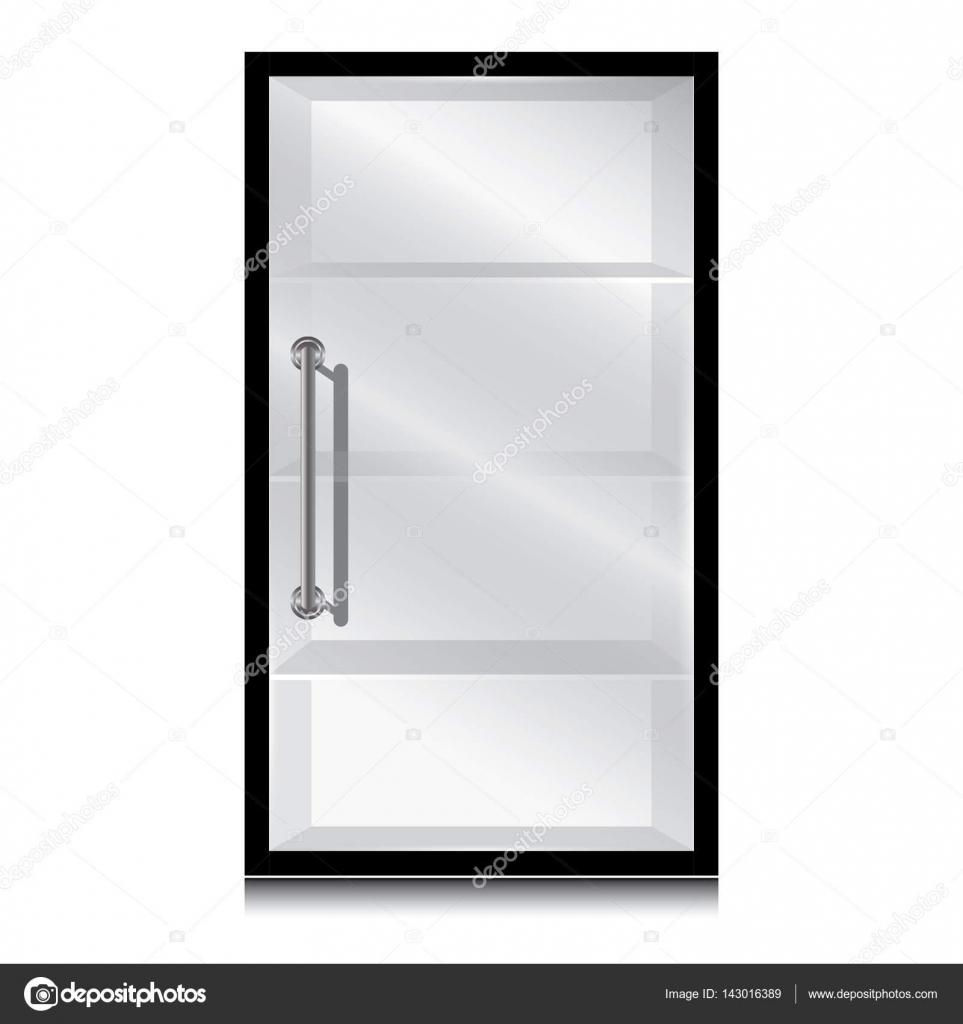 Zwarte Kast Met Glas.Zwarte Kast En Glazen Deur Met De Deurklink Op Een Witte Achtergrond