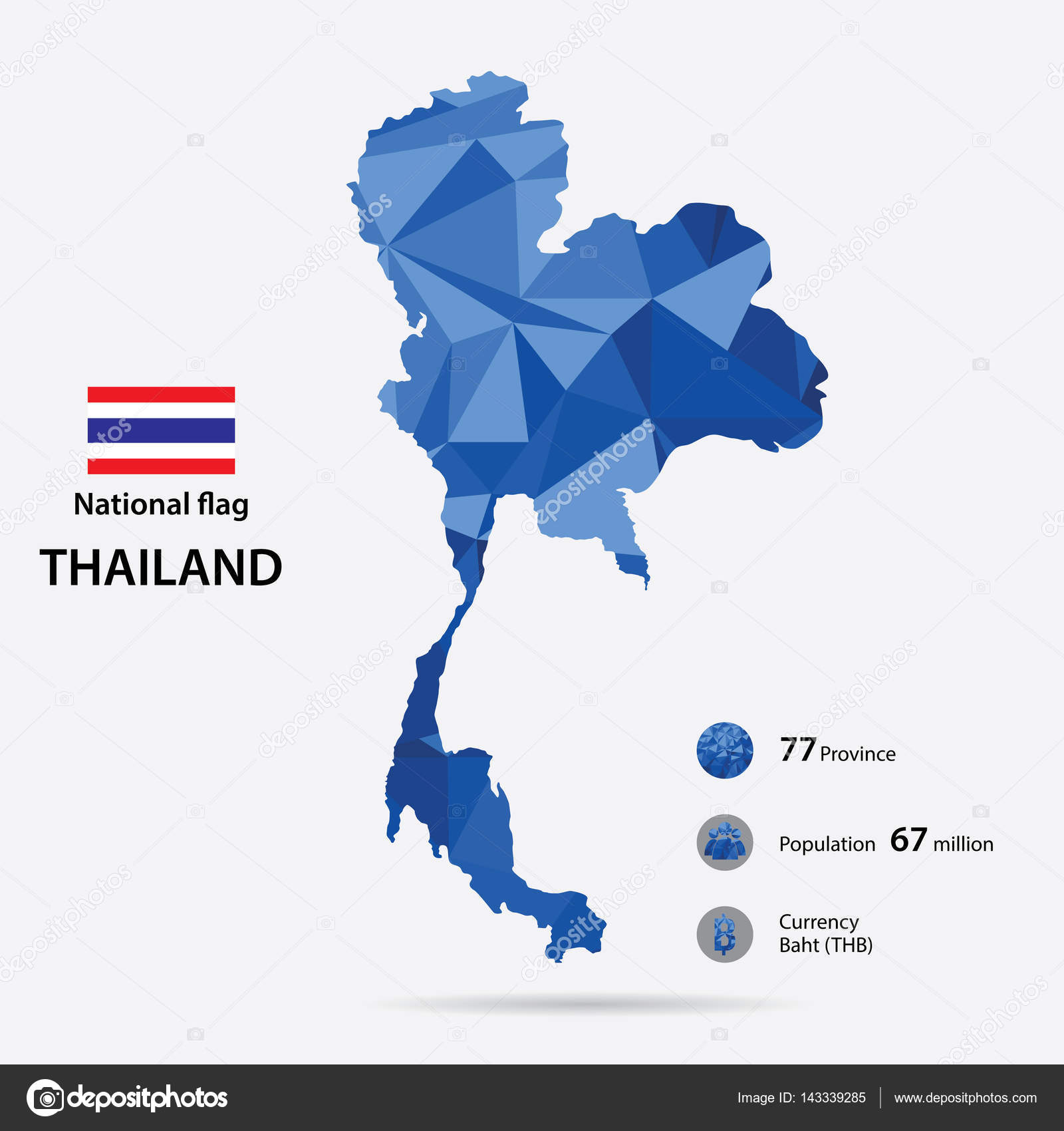 Thailand On The World Map With A Blue Abstract Pattern On Grey
