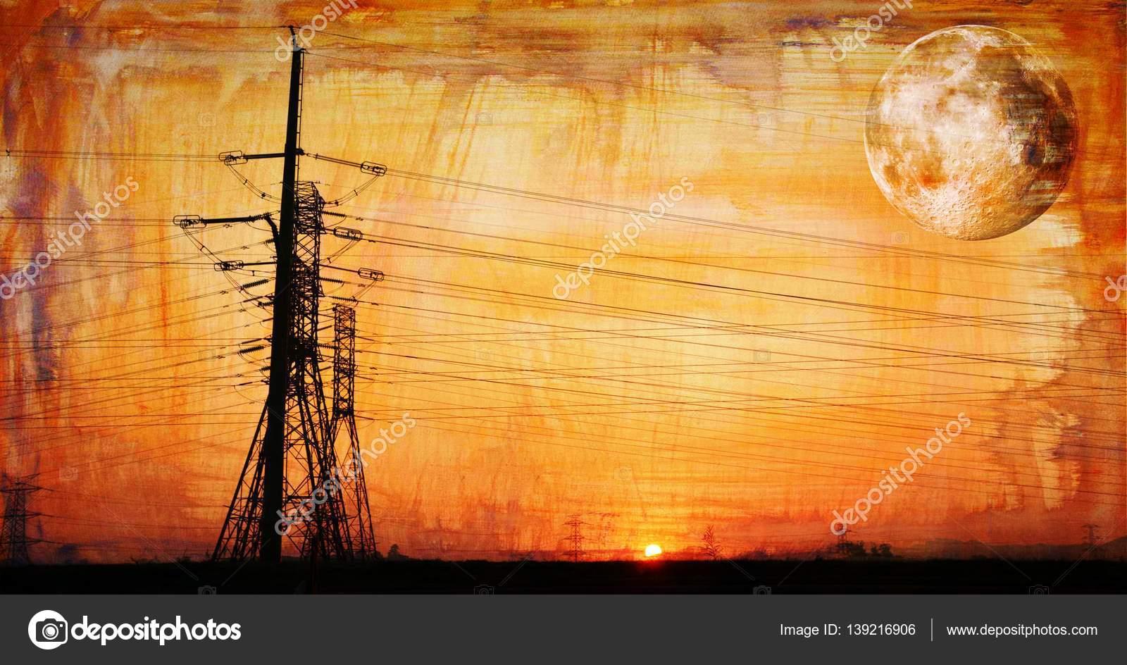 Landschaft; Stromleitungen; Textur; Swartland; Südafrika ...