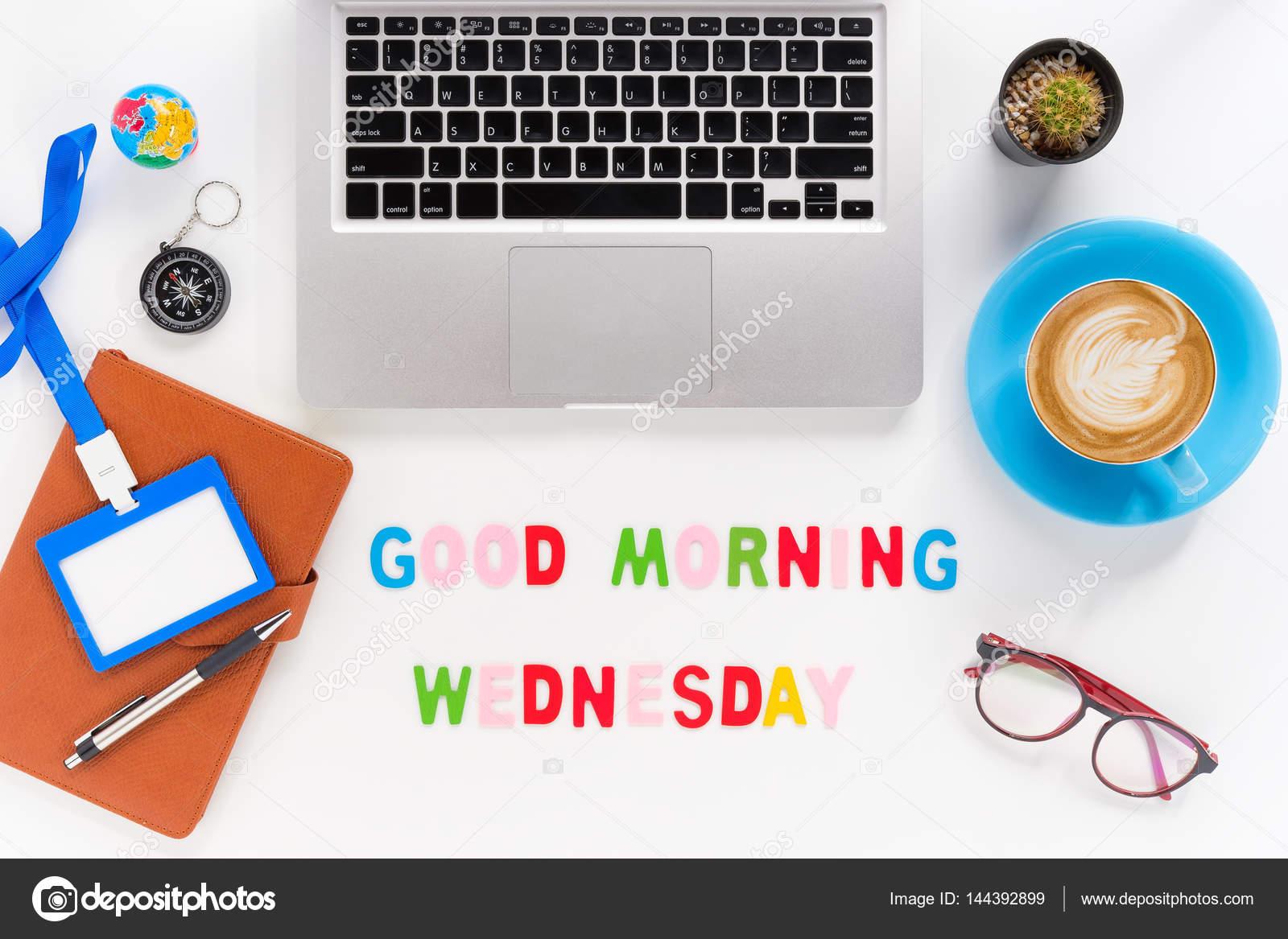 Bildunterschrift Wort Guten Morgen Mittwoch Stockfoto