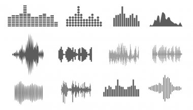 Vector Sound Waveforms. Sound waves and musical pulse icons