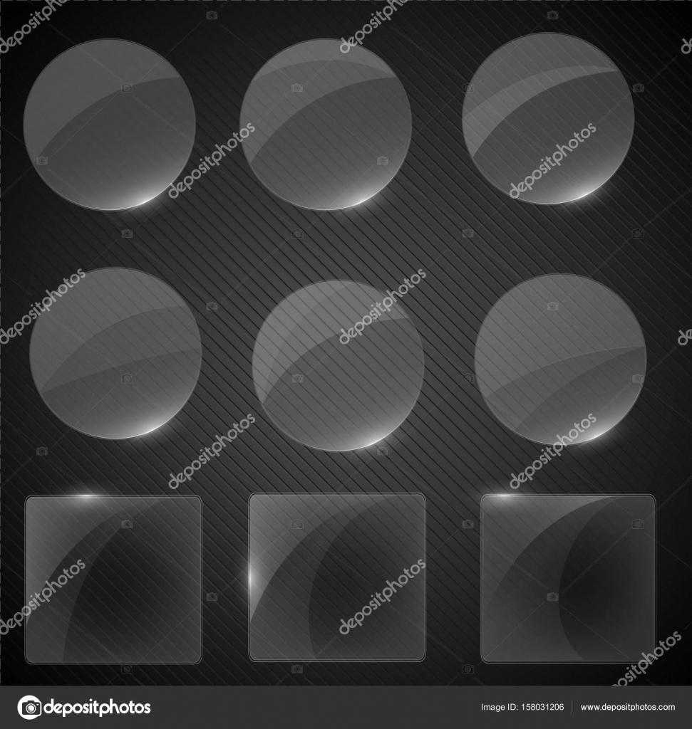 Set aus transparentem Glas auf Probe Hintergrund. Glas-Rahmen-Set ...