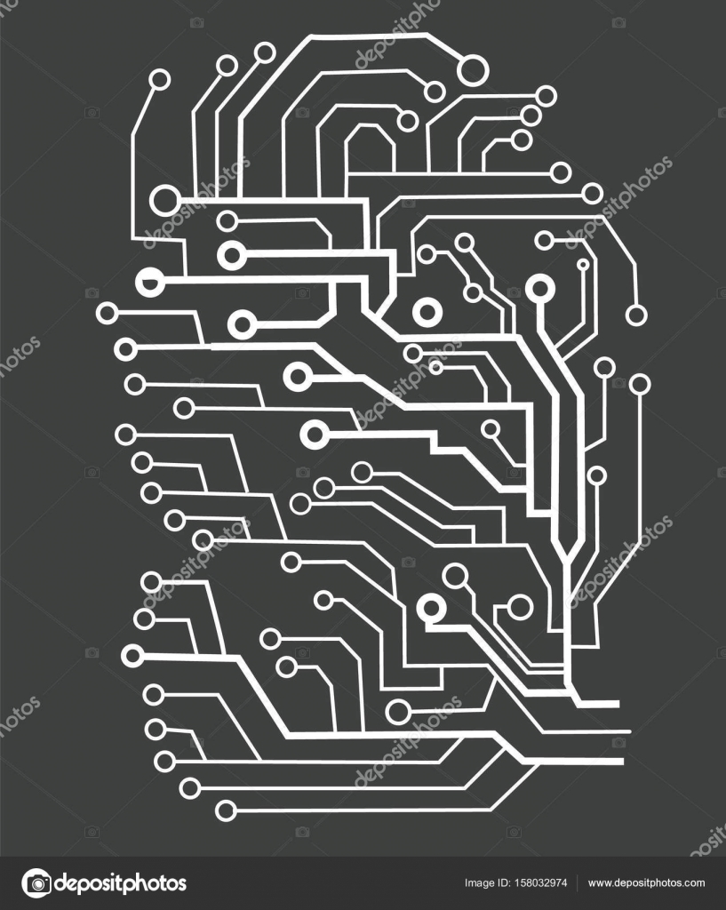Printed Circuit Texture Background Seamless Black And White Board Electronics Vector Electronic Plate Pattern Illustration Futuristic