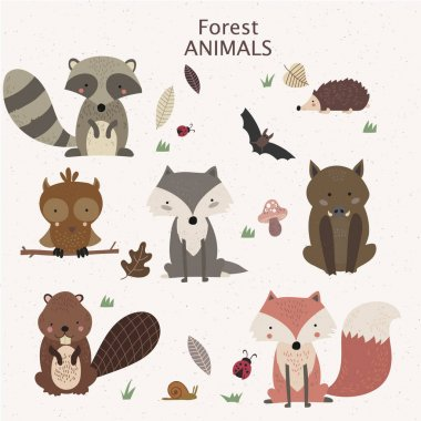 Woodland tribal animals cute forest stock vector