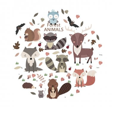 Woodland tribal animals cute forest and nature design elements vector stock vector
