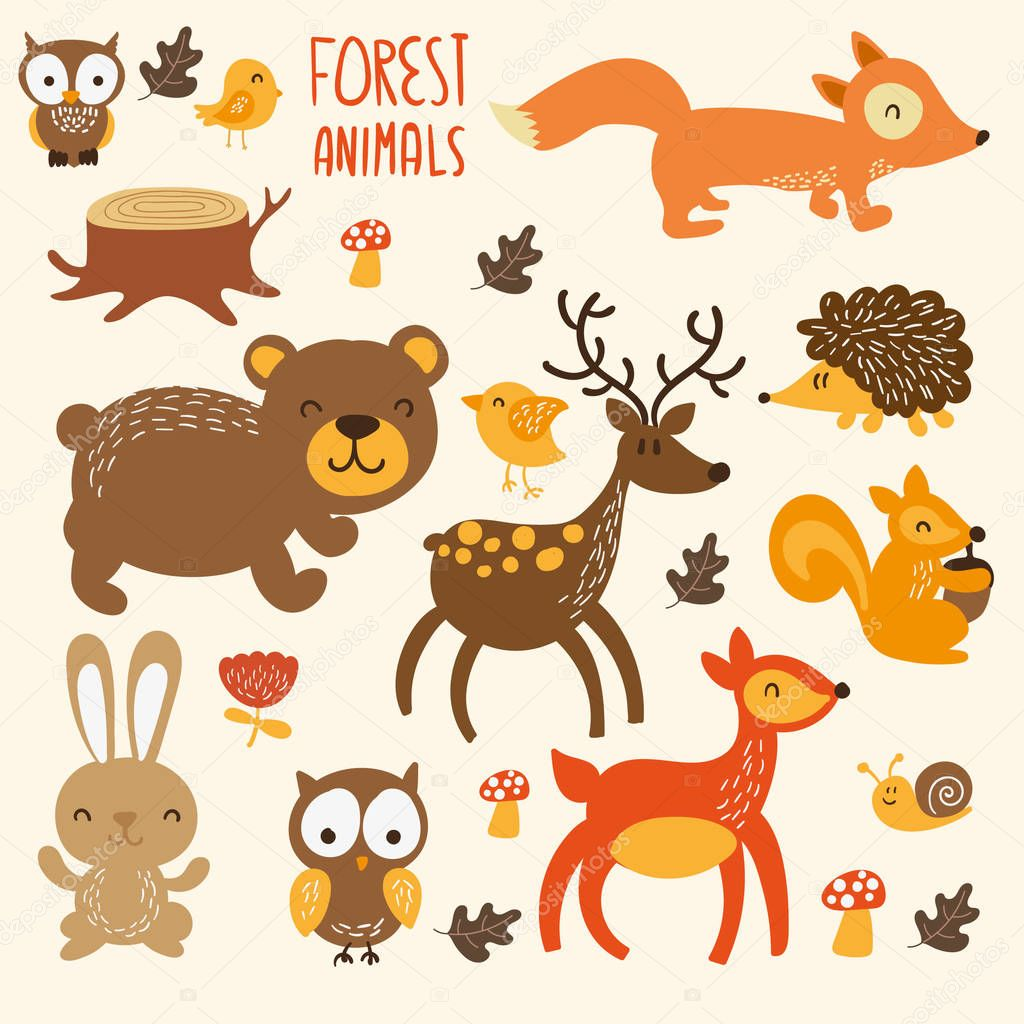 Set of cute woodland animals isolated on white background with text Wild and Free