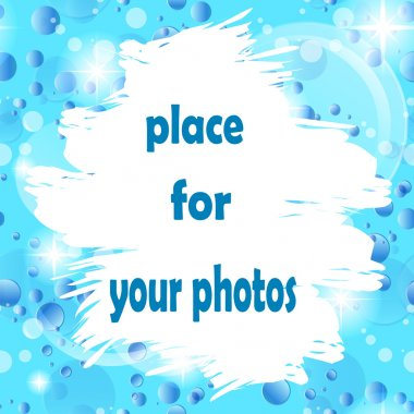 Cloud for photo or text on an abstract background of the fantastic bubbles and stars. Vector frame for text or photo.