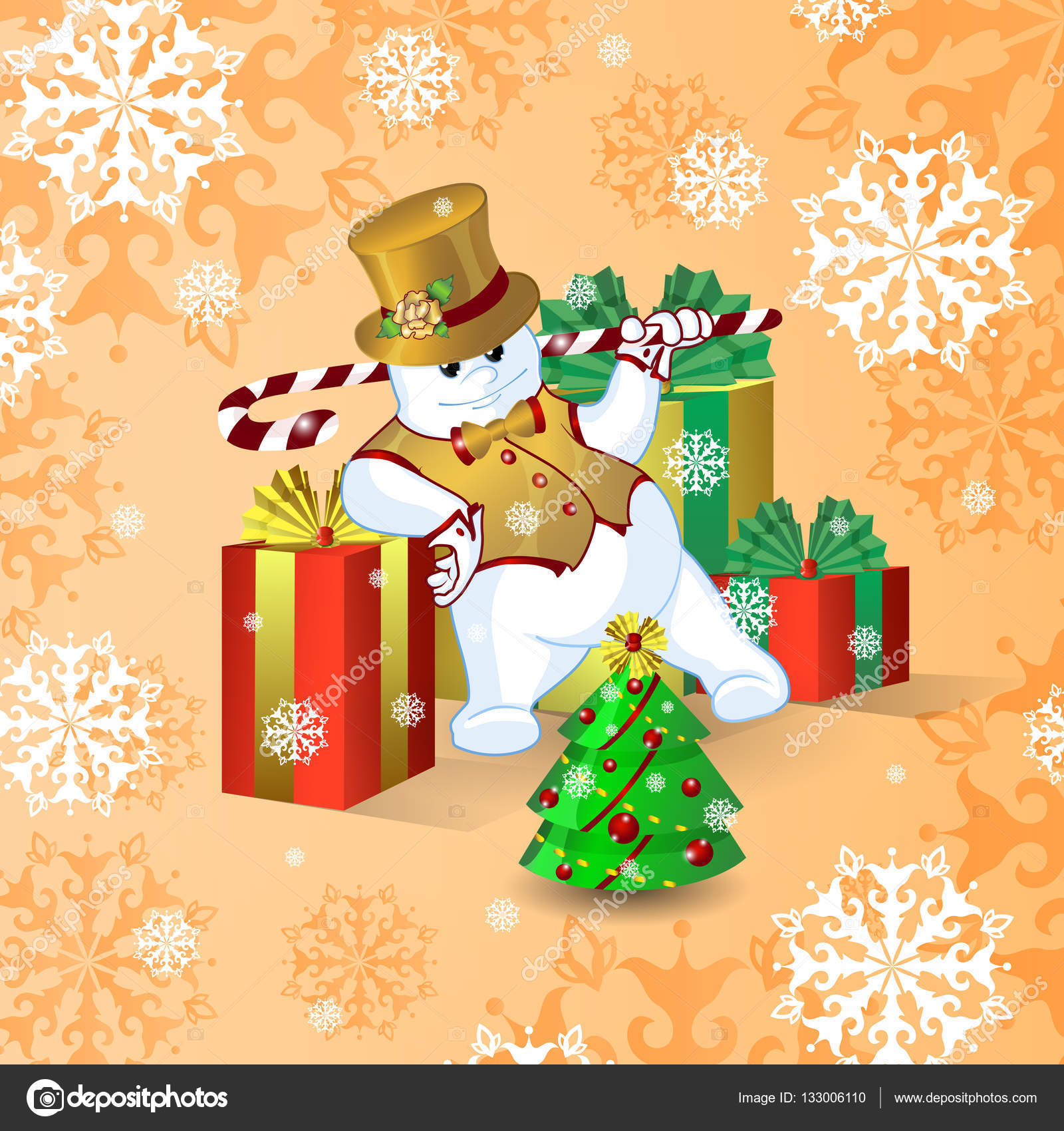 vector card for christmas or new year dancing snowman in a gold top hat and waistcoat with a stick of candy near the large bright boxes with gifts and a