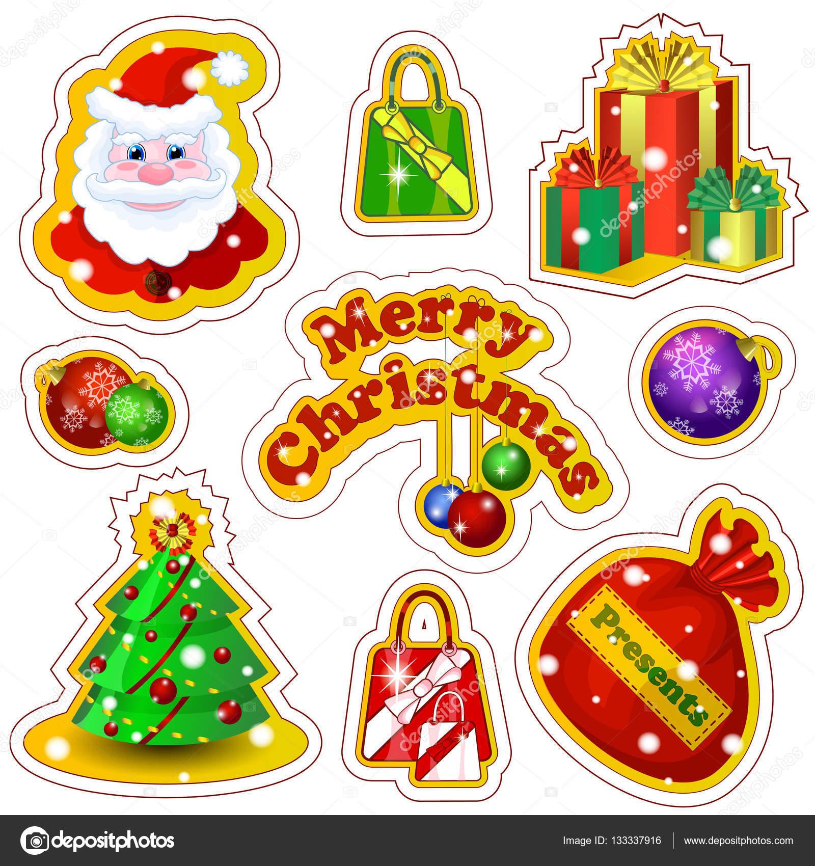 Conjunto de vector de etiquetas para navidad en un estilo - Un santa claus especial ...