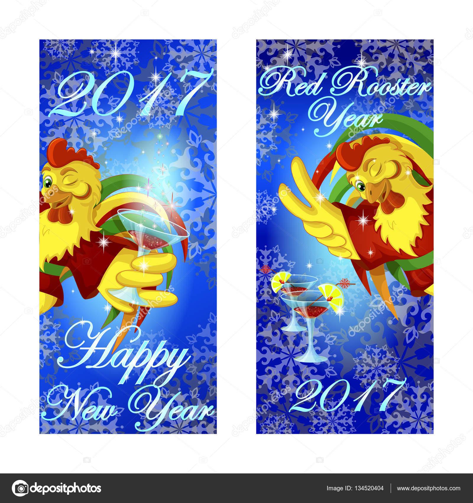 Zwei Banner, die Begrüßung des neuen Year.Winking Hahns im roten ...
